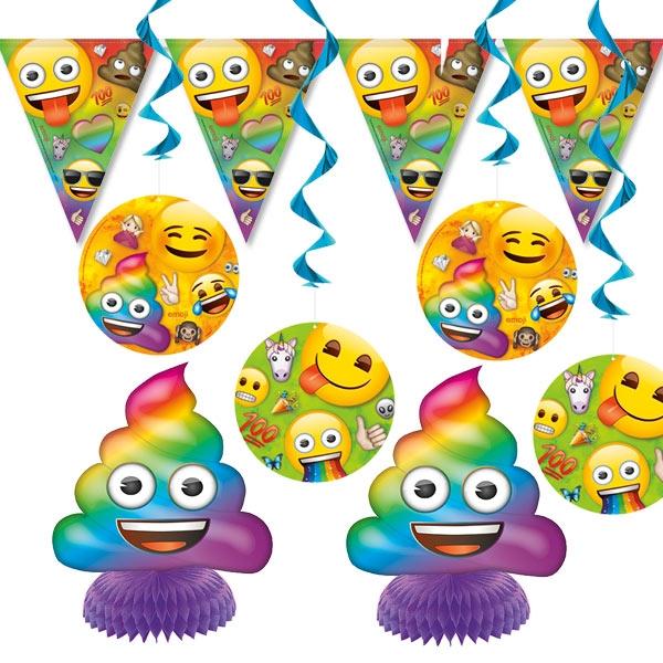 Emoji Rainbow Fun Dekoset für Ihre Raumdeko witzigen Smileys, 7-tlg.