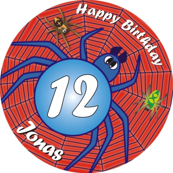 Spinne Tortenaufleger Geburtstag mit Name und Alter – rund
