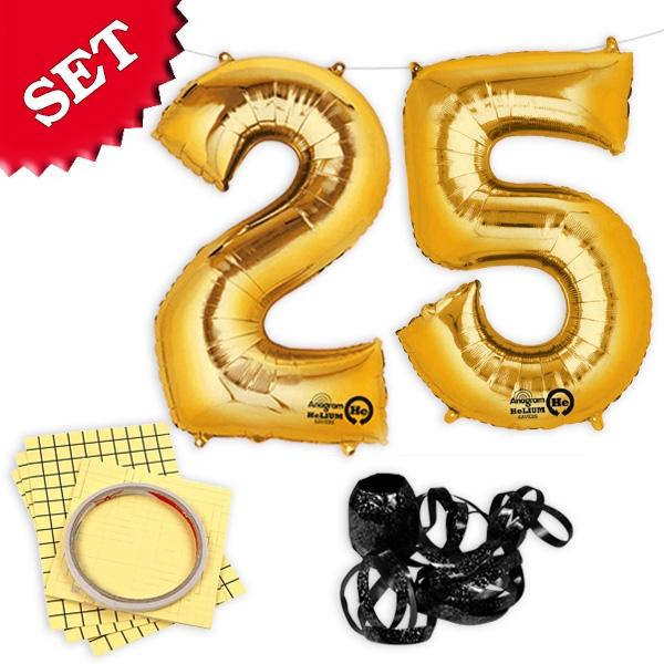 """XXL Folieballons Zahl """"25"""", gold, zum 25. Geburtstag von Goldkindern, 2er"""