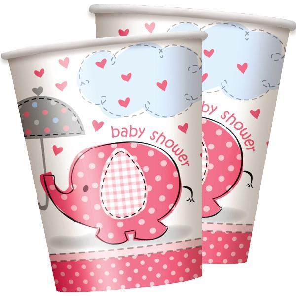 Baby Shower Becher Elefant 8 Stück Pappbecher mit 270 ml Inhalt