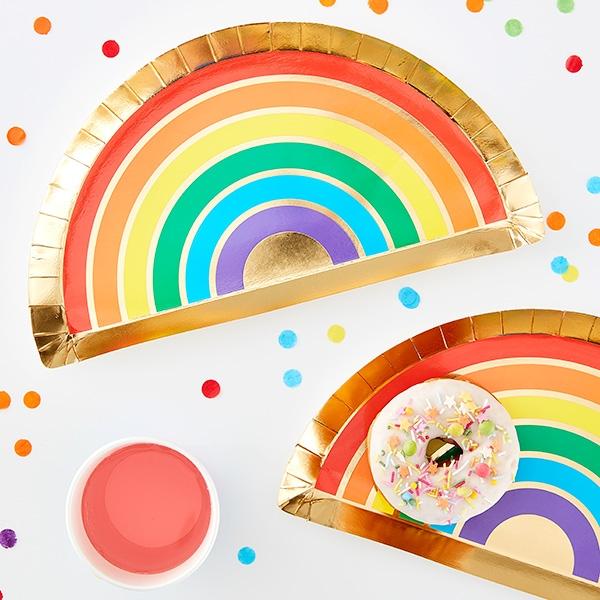 Regenbogen Partyteller, 8 Stück, Pappe