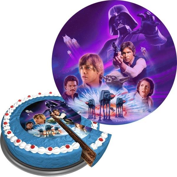 Star Wars Tortenaufleger rund aus Zuckerguss für Mottotorte, 16 cm