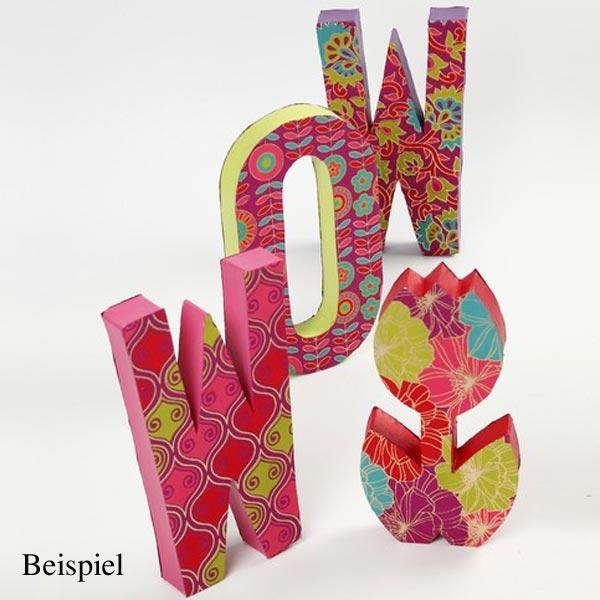D Buchstabe, handgearbeitet aus Pappe, zum Bemalen/Bekleben, ca. 10 cm