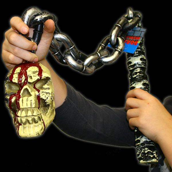 Streitflegel mit Totenkopf, voll grusliges Dekoaccessoire, 85 cm
