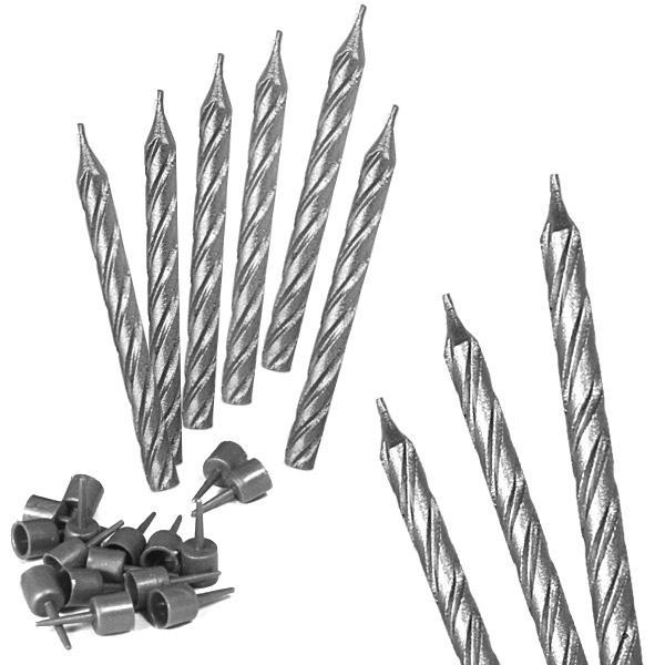 Tortenkerzen silbern, 16 Stück, 6cm, mit 16 Kerzenhaltern aus Kunststoff