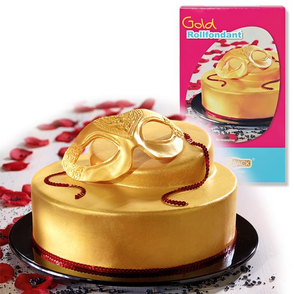 Goldfarbener Rollfondant, 250g plus Farbpulver, für Torte u. Kuchen