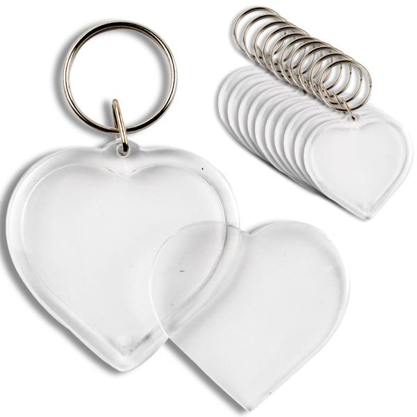 Großpack Schlüsselanhänger Herz, 25 Stück, zum Einfügen eigener Bilder, 5cm x 5cm