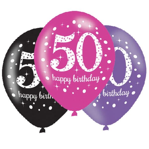 Luftballons zum 50. Geburtstag, 6 Stk, 27,5cm