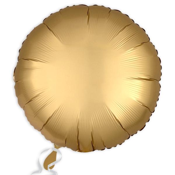Folieballon rund Satin Luxe Gold, 34 cm