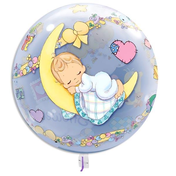 Bubble Ballon Baby Shower, 40cm, schlafendes Baby auf einer Wolke