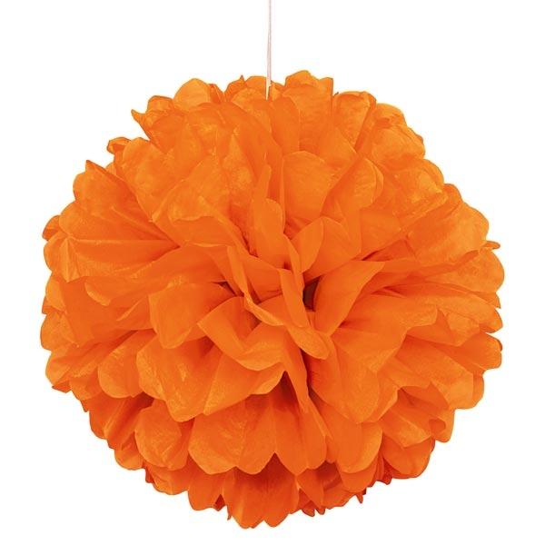 Puffball aus Papier orange, Pompom in schöner leuchtender Farbe, 40cm