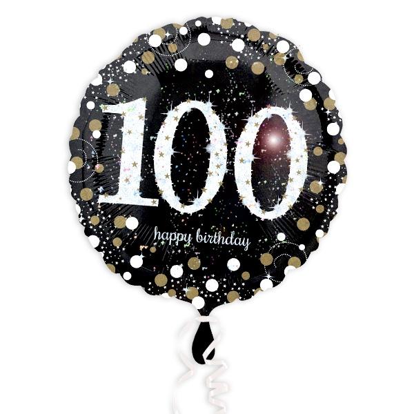 Glitzernder Folienballon zum 100. Geburtstag, schwarz, 35cm, 1 Stück