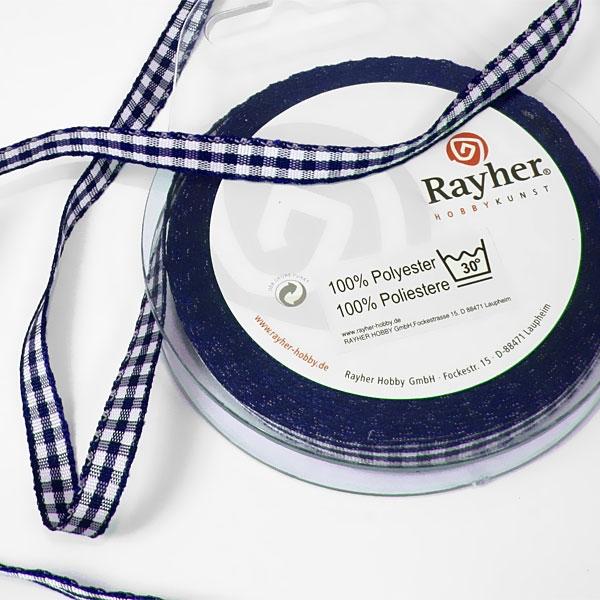 Karoband auf Rolle dunkelblau, 10m lang und 6,3mm breit, 100% Polyester