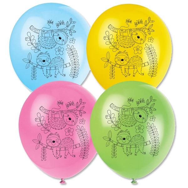 Faultier Latexballons, 8er Pack, Ø 25cm, aus Naturkautschuk-Latex