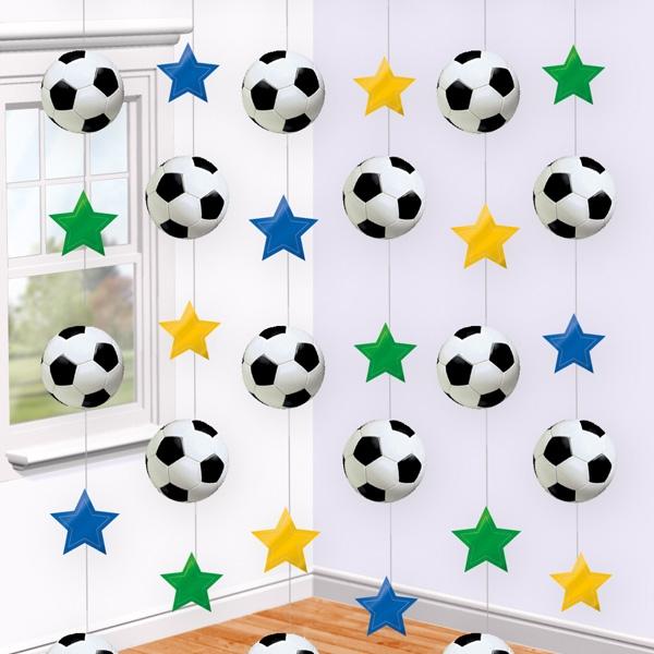 Fußball Hängedeko, 6-teilig, Sterne und Fußbälle