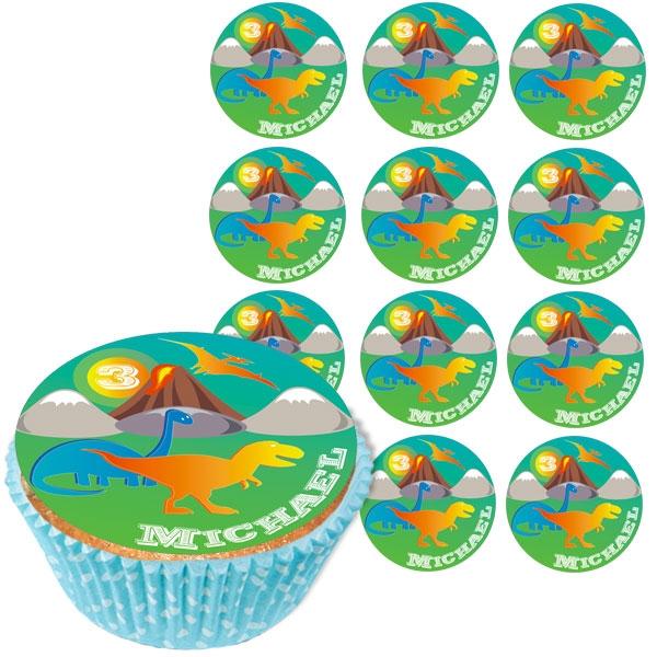 Personalisierte Muffinaufleger, 12 Stück, Dinos, d= 5cm