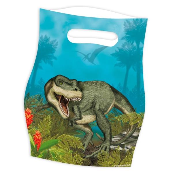 Dinosaurier Partytütchen aus Folie, Dino-Geschenktüten, 8 Stück