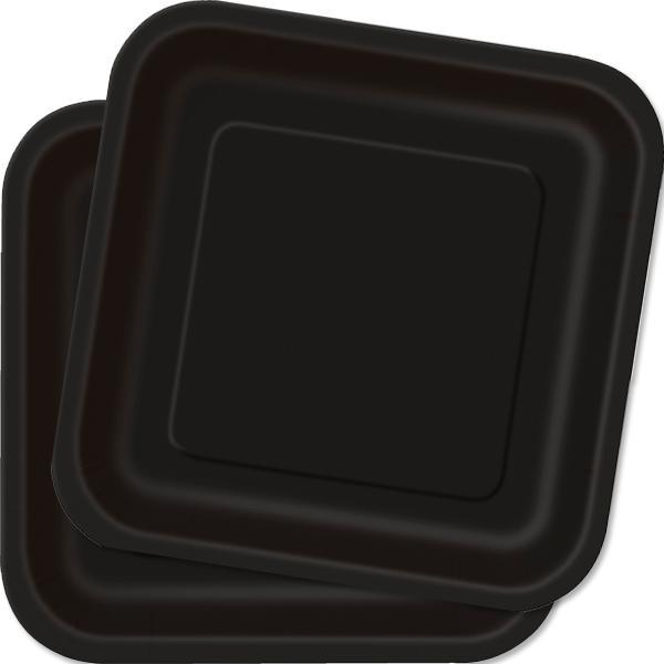 Teller schwarz eckig 23 cm 14 Stk., schwarze Einwegteller aus Pappe