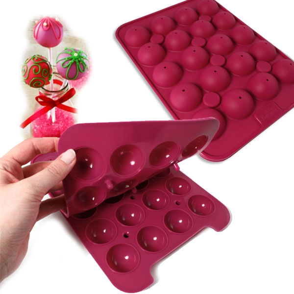 Cake Pop Baker, 2-teilige 3D-Backform aus Silikon: 20 Stiele,25x27,5cm