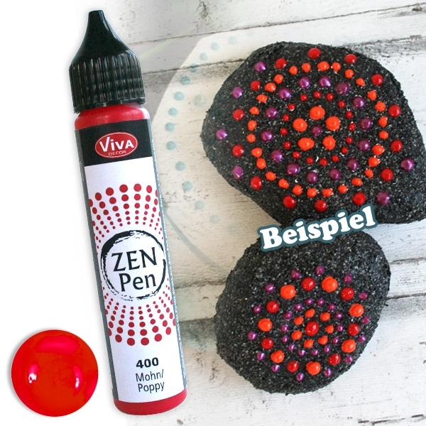 Zen Pen Farbe Mohn, 28ml, Perlen-Pen in Mohnblüten-Farbton, 1 Stück