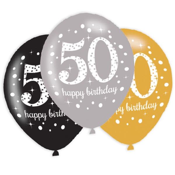 Latexballons 50. Geburtstag, 6er Pack, 27,5cm