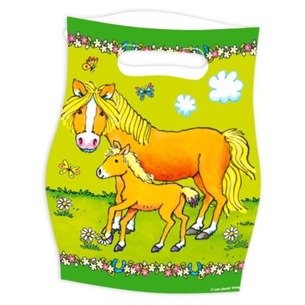 Mein Ponyhof Tütchen aus Folie, 8 Partytüten für Pony-Mottopartys