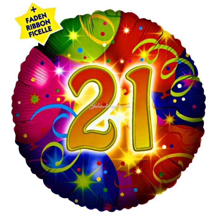 Folienballon rund mit Zahl 21 im Ballondesign, 35 cm
