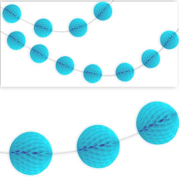 Wabenball Girlande, hellblau, 2,13m, Durchmesser der Wabenbälle: 7,5cm