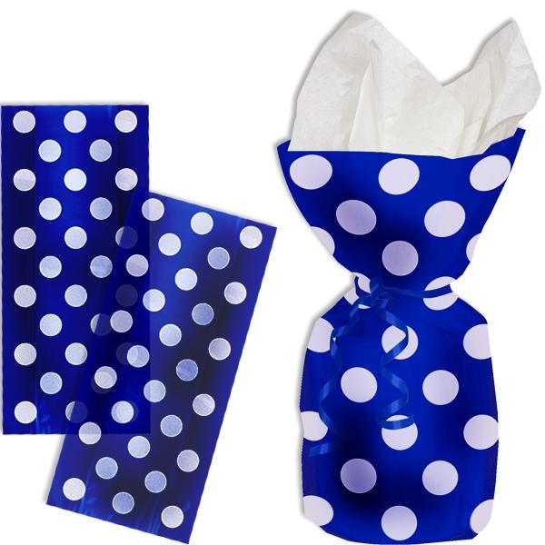 Geschenktüten blau mit weißen Punkten, 20 Stück, durchsichtig, Folie