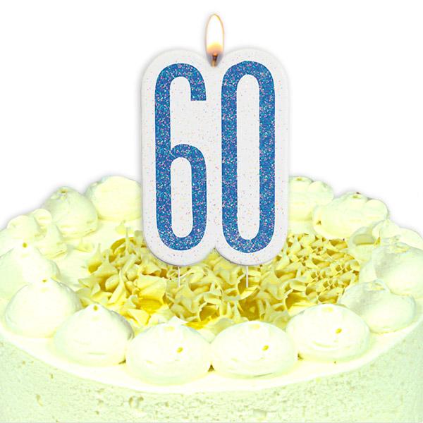 Geburtstagskerze Zahl 60, in glitzerndem Blau für Männer
