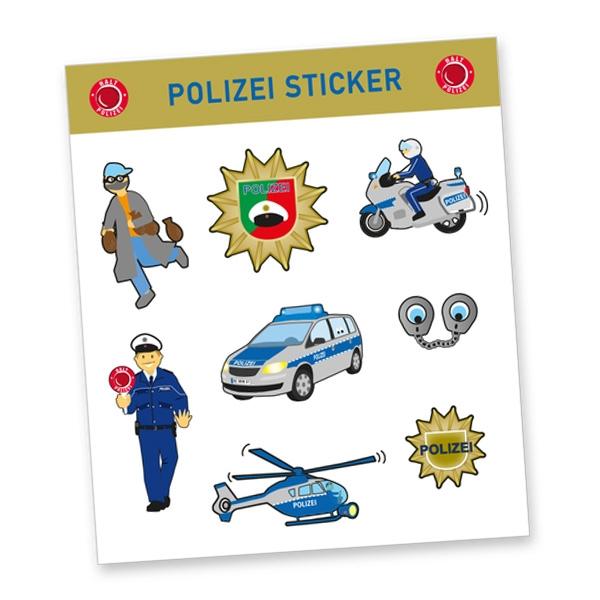 """Stickerbogen """"Polizei"""" mit 8 Stickern"""