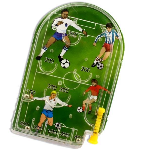Fußball Flipper, mit Stoßhebel, Punkten und drei Kugeln, Mitgebsel zum Kindergeburtstag, 12cm