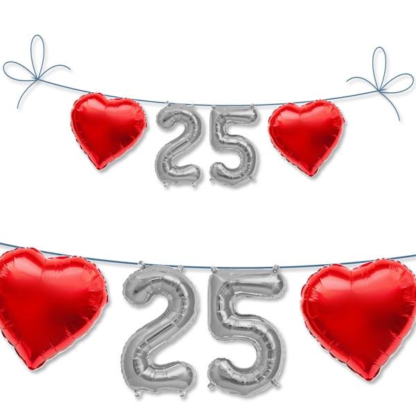 Mini Folieballon Set Zahl 25 + Herzen für 25.Geburtstag / Silberne Hochzeit