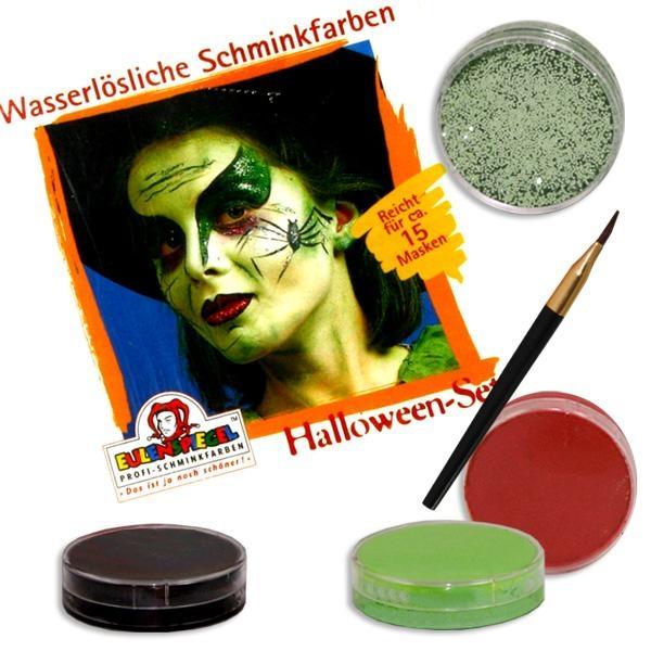 Kinderschminke Halloween im Set für Profis: 4 Farben,Pinsel +Anleitung