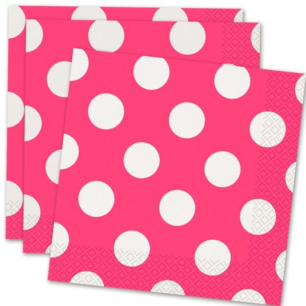 Papierservietten in Rosa mit weißen Punkten, 16 Stück pro Packung