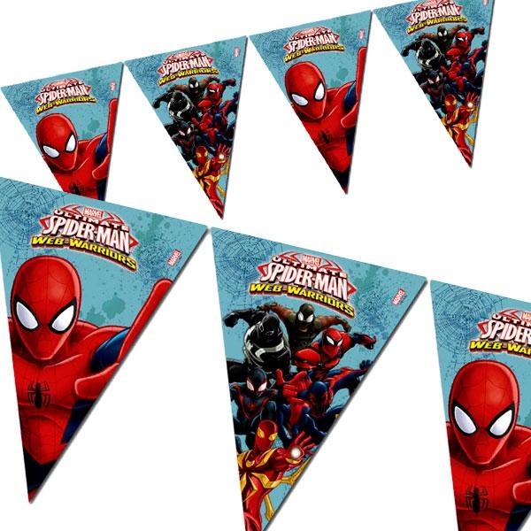 Spiderman Web-Warriors Partykette für drinnen und draußen, Folie, 2,3 m