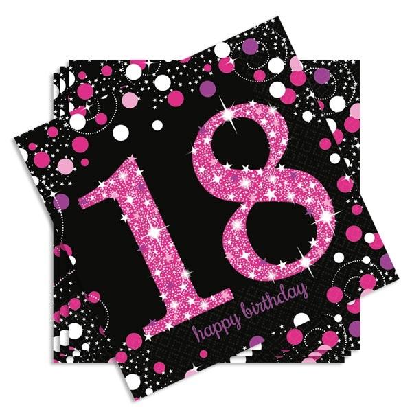 Sparkling Celebr. Papierservietten zum 18ten, 33cm, 16er, pink