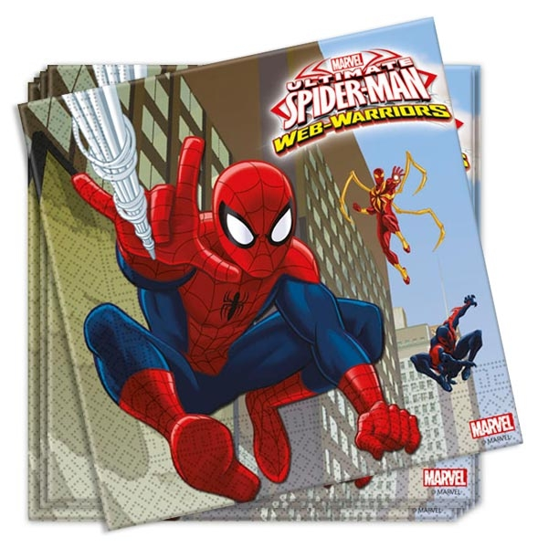 Spiderman Servietten 20 Stück, 33 cm