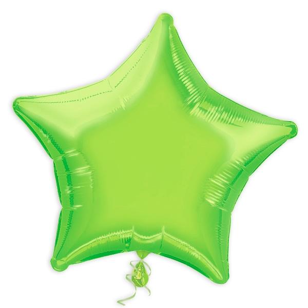 Stern-Folienballon hellgrün 44cm, auch mit Heliumfüllung lieferbar