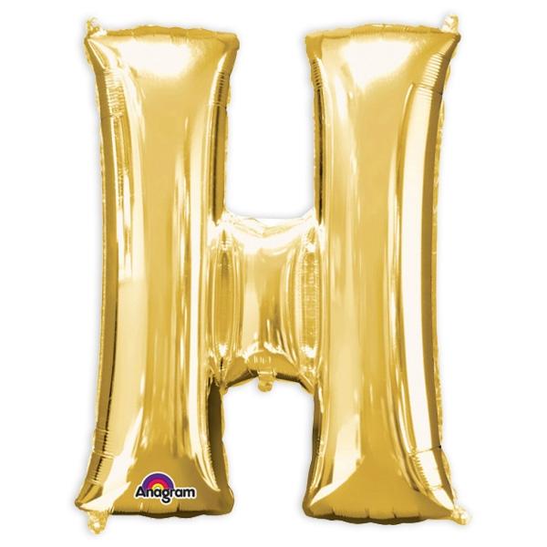 """Folienballon Buchstabe """"H"""" golden, für Namen oder Sprüche , 81×66cm"""