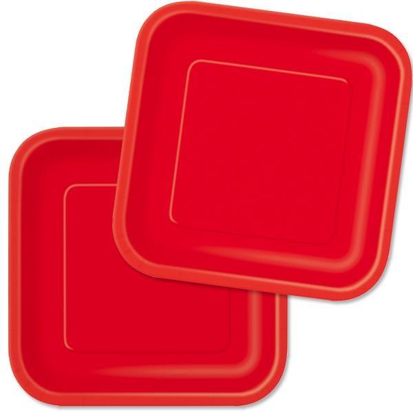 Quadratische Pappteller rot, 18cm, knallrote Einwegteller im 16er Pack