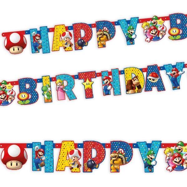 Super Mario Buchstabenkette, Happy Birthday in buntem Design, 1,9m