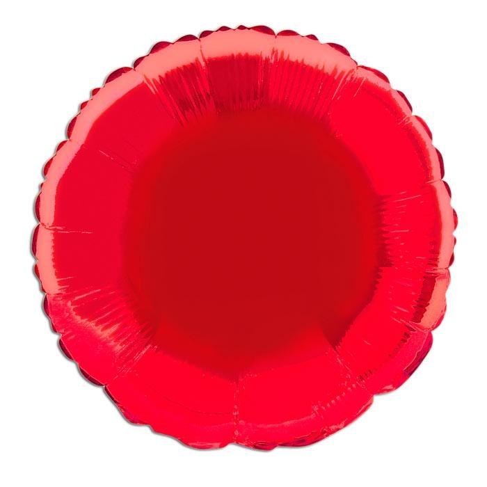 Roter Folienballon rund 35cm, 1 einfarbiger Heliumballon, beschriftbar