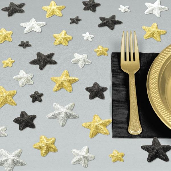 Sterne in Gold, Silber und Schwarz