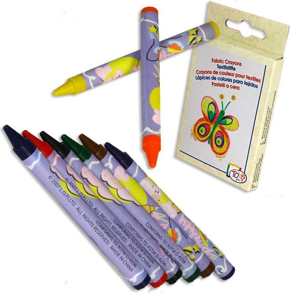 Textilstifte, Wachsstifte zum Bemalen von Textilien, 8er Pack