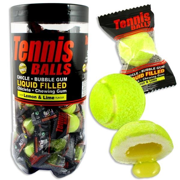 Großpackung Tennis Kaugummis, 50 Stück, mit flüssiger Füllung, Zitronengeschmack