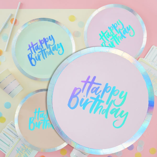 Pastell Teller, Happy Birthday, bunt, schimmernd, 8 Stk, Ø 24,5cm