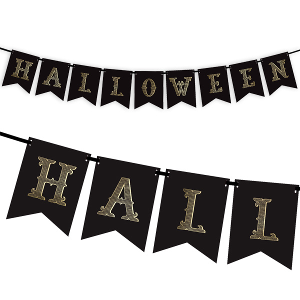 Halloween Wimpelkette, Pappe, 1,75m