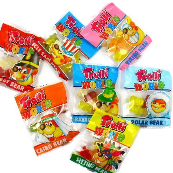 Trolli World Bärchen 1 x 10g Tütchen, bunte Fruchtgummis für Kids, MHD 17.08.