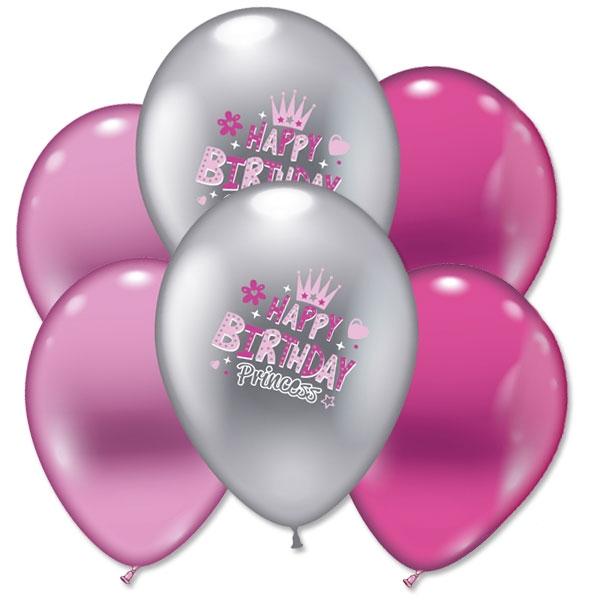 Happy Birthday Prinzessin Luftballons, 6 Stk, pink & silber, Ø 30cm